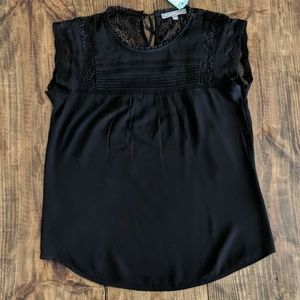 Black blouse with lacw detail